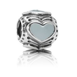 Sterling Silver light blue heart charm